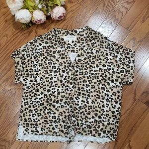 Anthropologie Cloth and Stone Animal Print Top